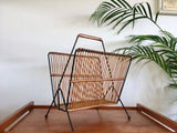 Mid Century 1950s Wicker and Metal Magazine Rack