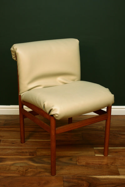 Mid Century Danish Padded Leather and Teak Dining Chairs