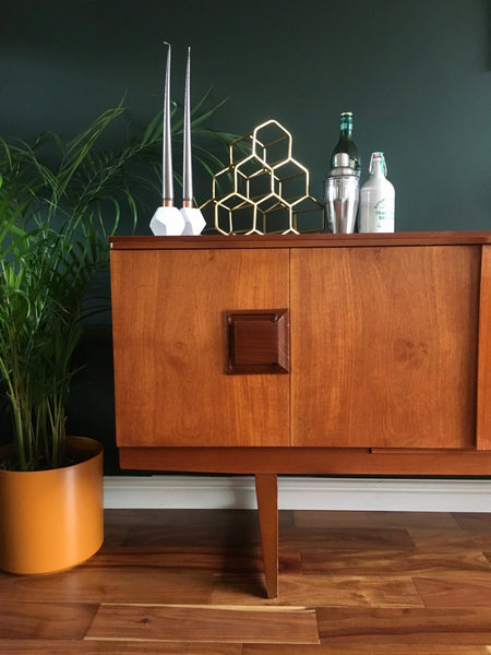 Mid Century Teak Sideboard by Beautility with Hidden Cocktail Cabinet