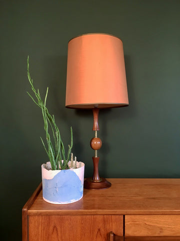 Mid Century Teak and Brass Lamp Orange Shade
