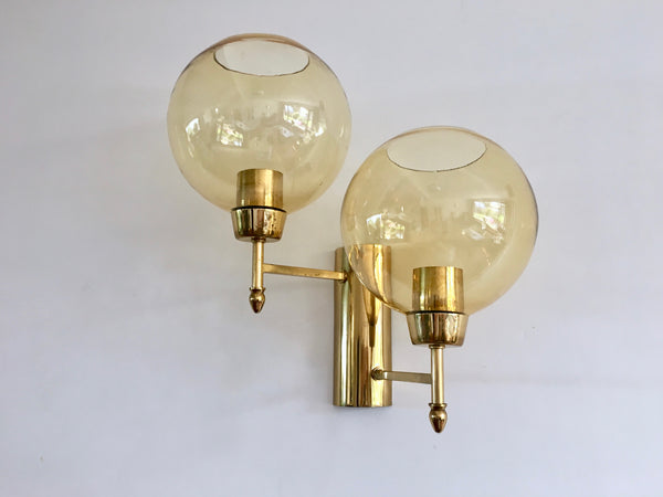 Vintage Mid Century Lux Brass Glass Globe Sconce Wall Lights