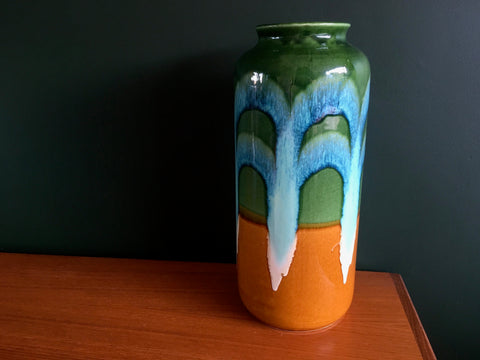 Mid Century Bay Keramik West German Pottery Vase Blue Green