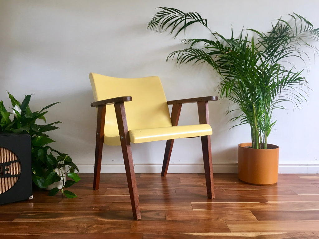 Mid Century Modern Yellow Fibreglass And Teak Armchair Habiib