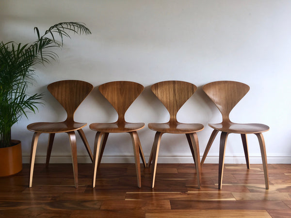 Mid Century Modern Norman Cherner Side Chairs Walnut The Cherner Chair Company