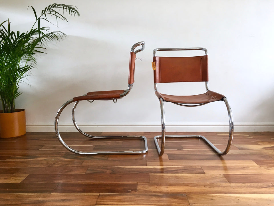 Mid Century Mies van der Rohe MR10 Cantilever Chair Steel and Leather Thonet
