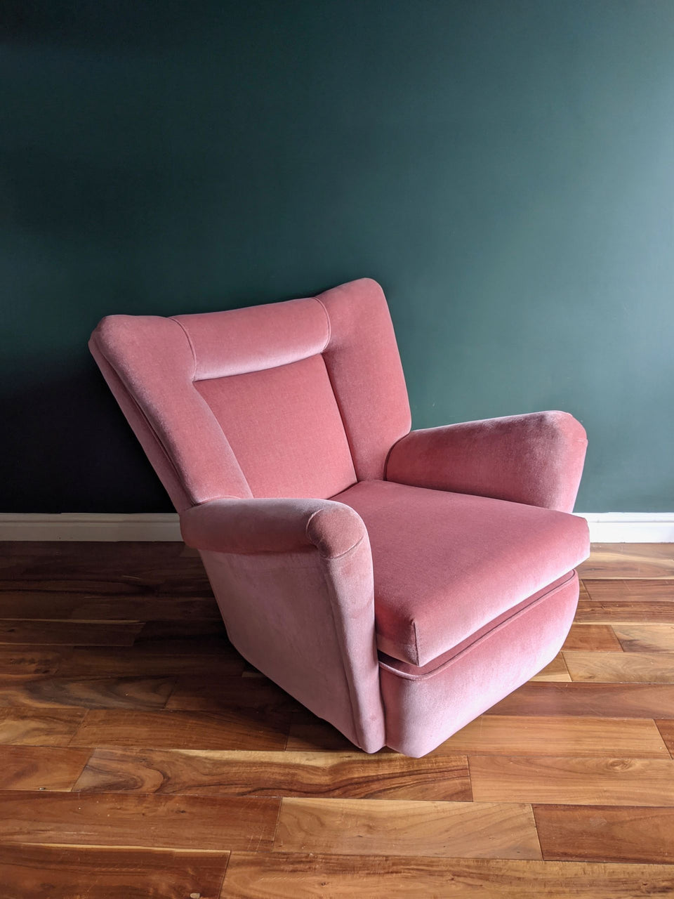 Mid Century Pink Velvet Armchair in style of Howard Keith