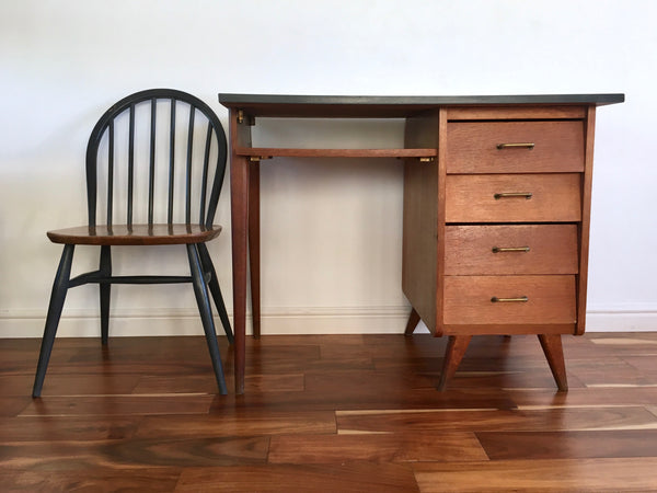 Mid Century Teak Desk Splayed Legs Magazine Shelf