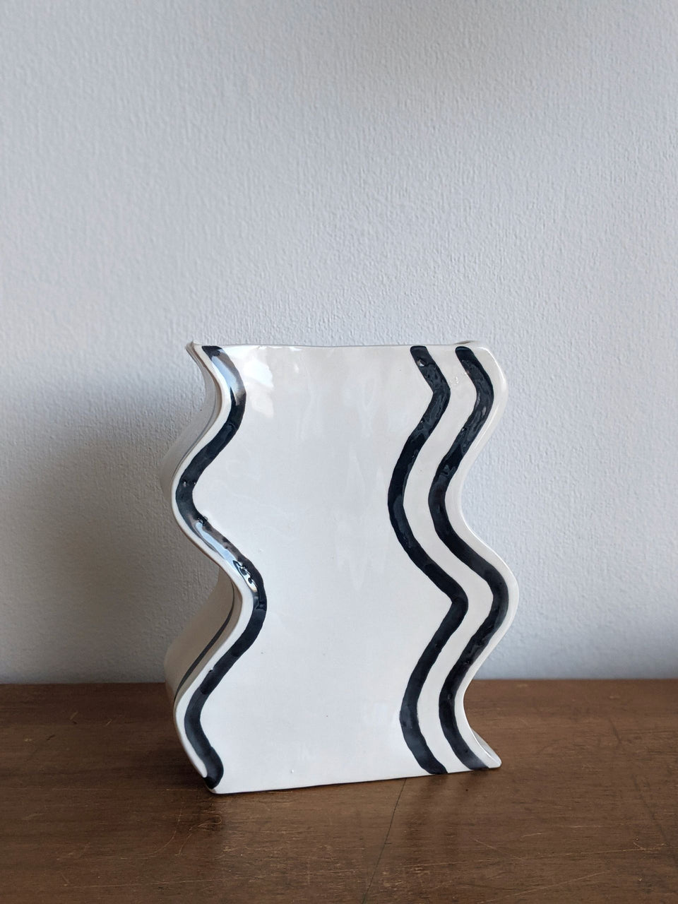 Son of Pear Handmade Ceramic Wave Vase Black and White Monochrome