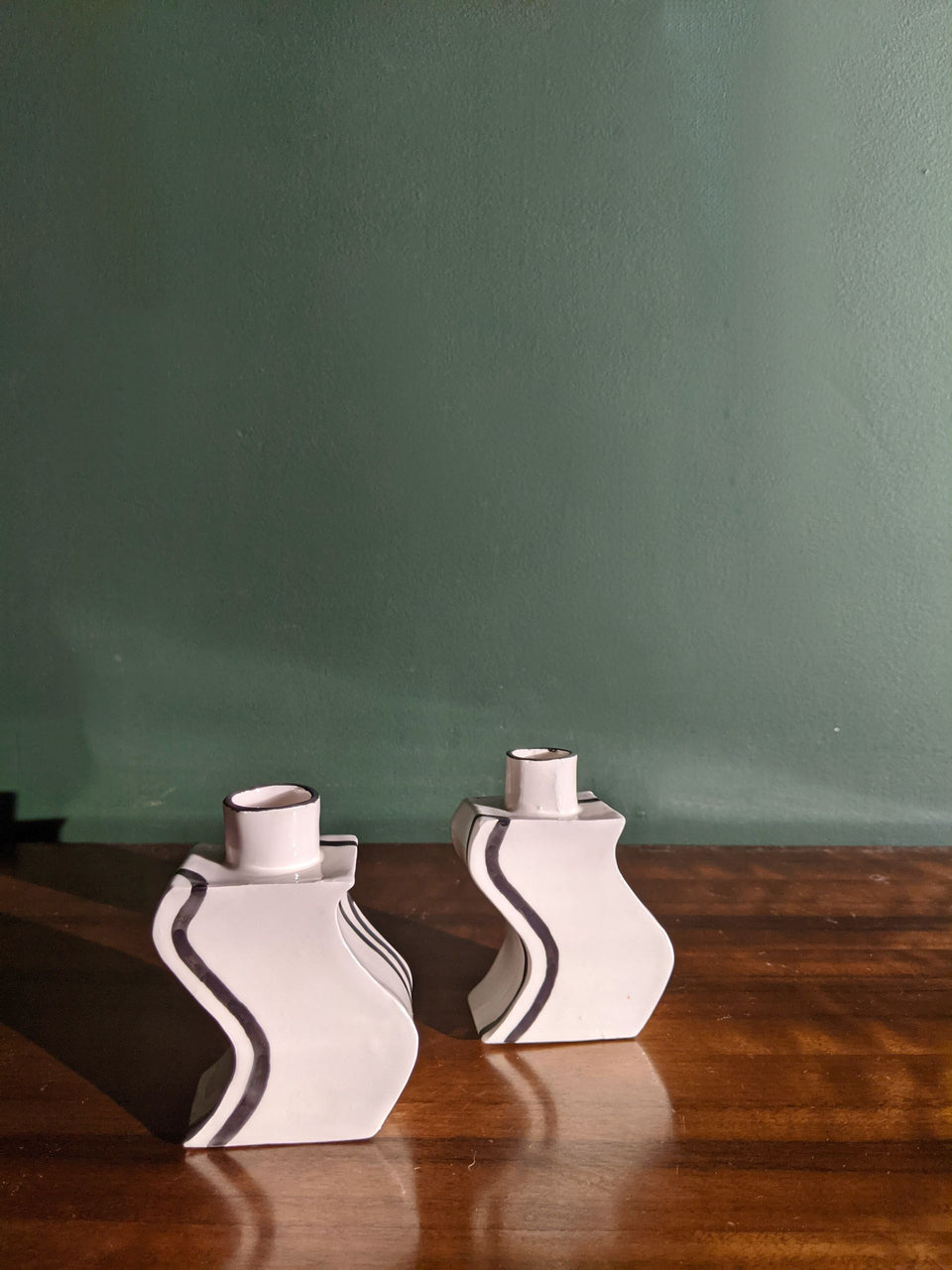 Son of Pear Handmade Ceramic Wave Candleholder Black and White Monochrome