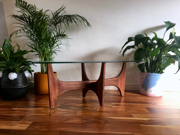 Adrian Pearsall Mid Century Teak and Glass Coffee Table by Stonehill