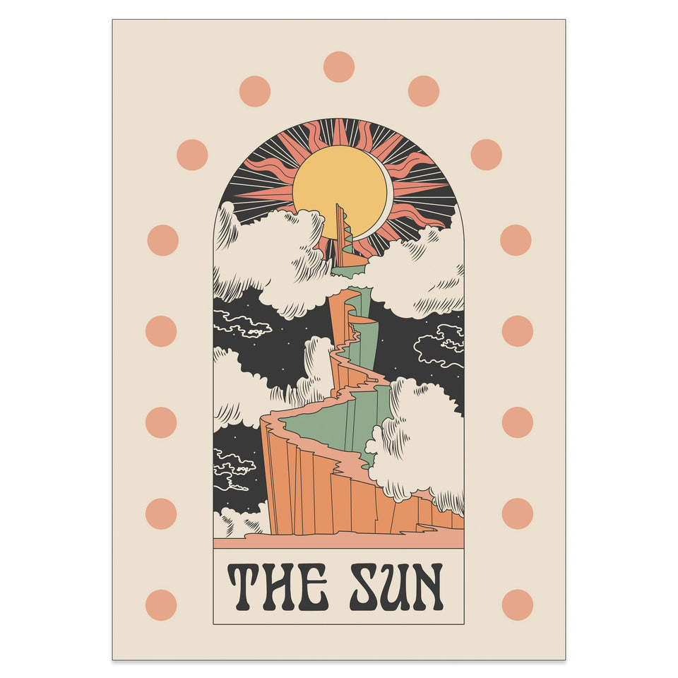 OMG Kitty The Sun Matte Spot Art Print Vintage Inspired