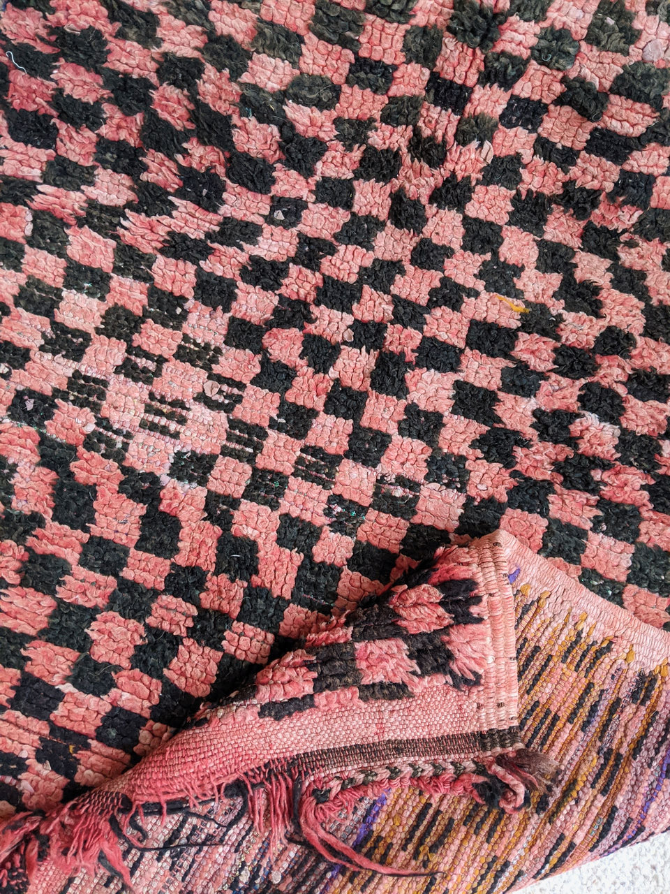 How Bizarre Vintage Moroccan Pink and Black Boujad Rug