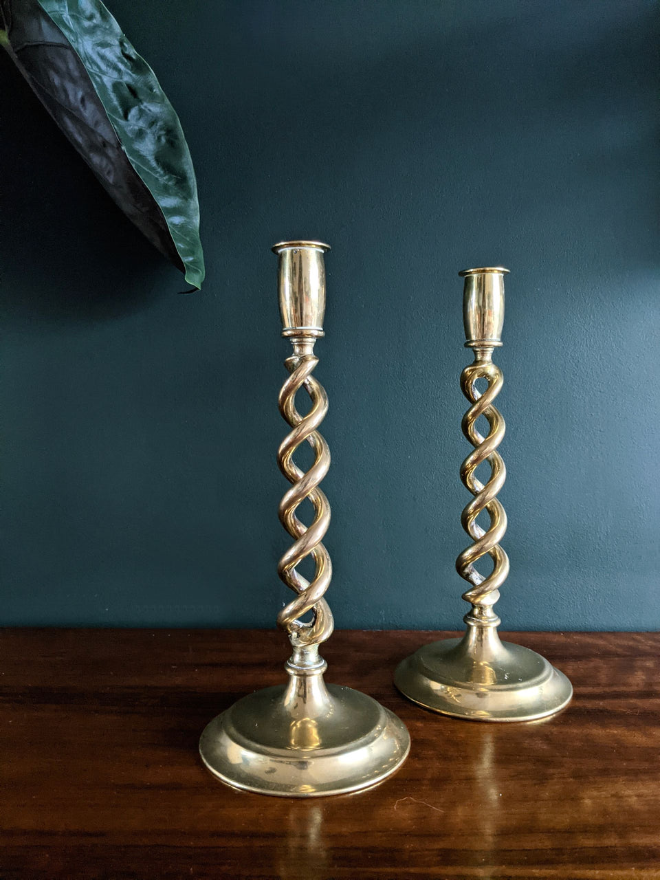 Vintage Brass Twist Candlesticks