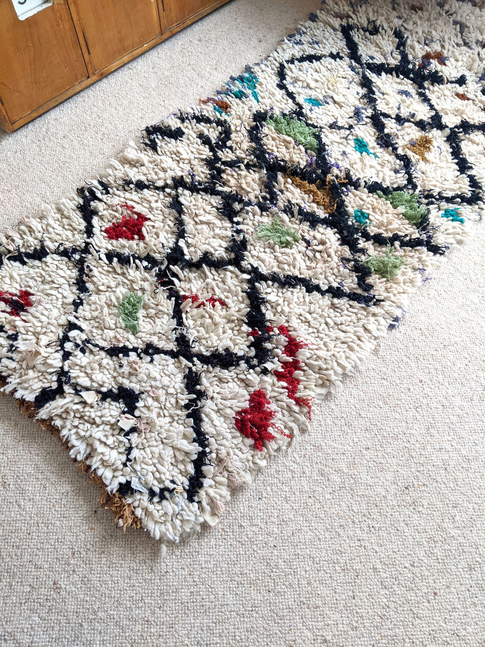 Vintage Cream and Black Moroccan Beni Runner Rug