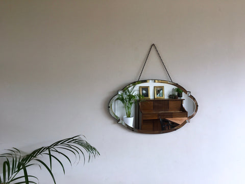1940s Vintage Bevelled Edge Oval and Spiked Mirror Rare