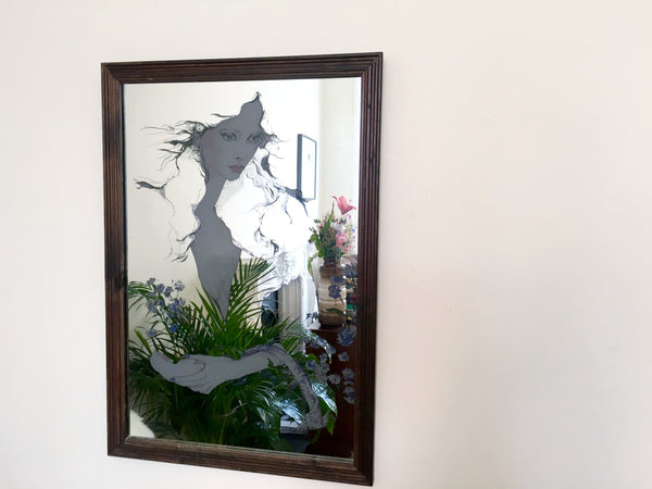 Vintage Mirror 'Woman with flowers'