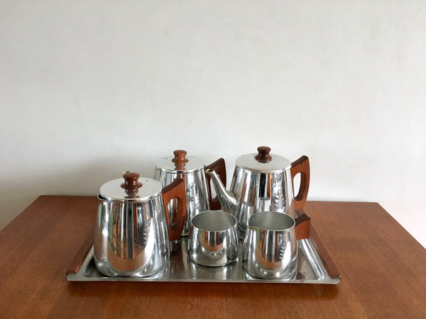 Mid Century Sona Teak Tea and Coffee Set Leaf Design