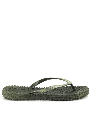 Cheerful Flipflops Army Green - The Espadrille Hut