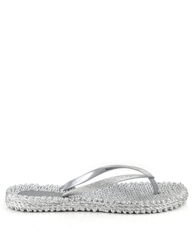 Cheerful Flipflops Silver - The Espadrille Hut
