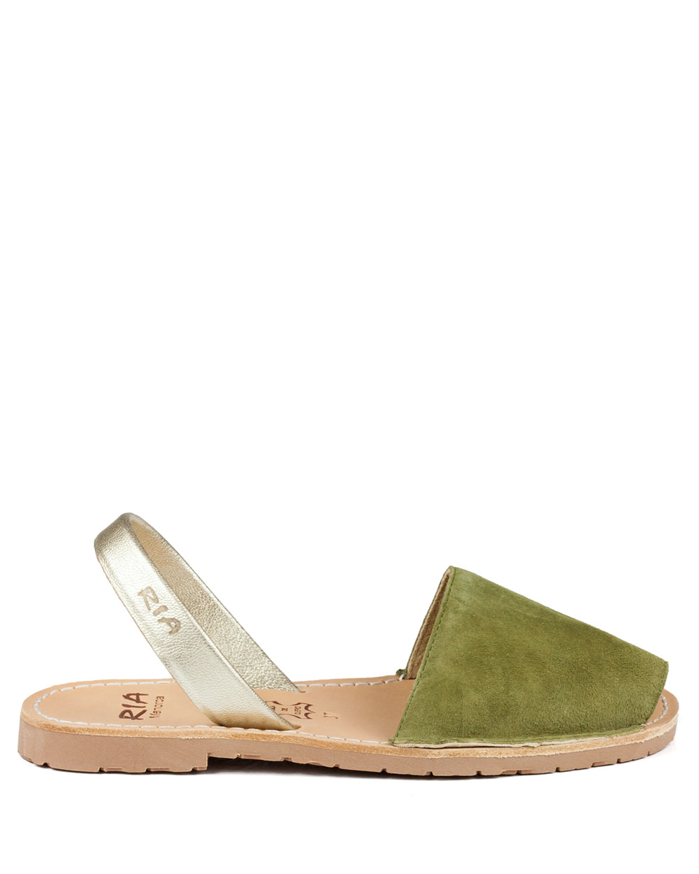 Menorcan Sandals Green Suede and Gold - The Espadrille Hut