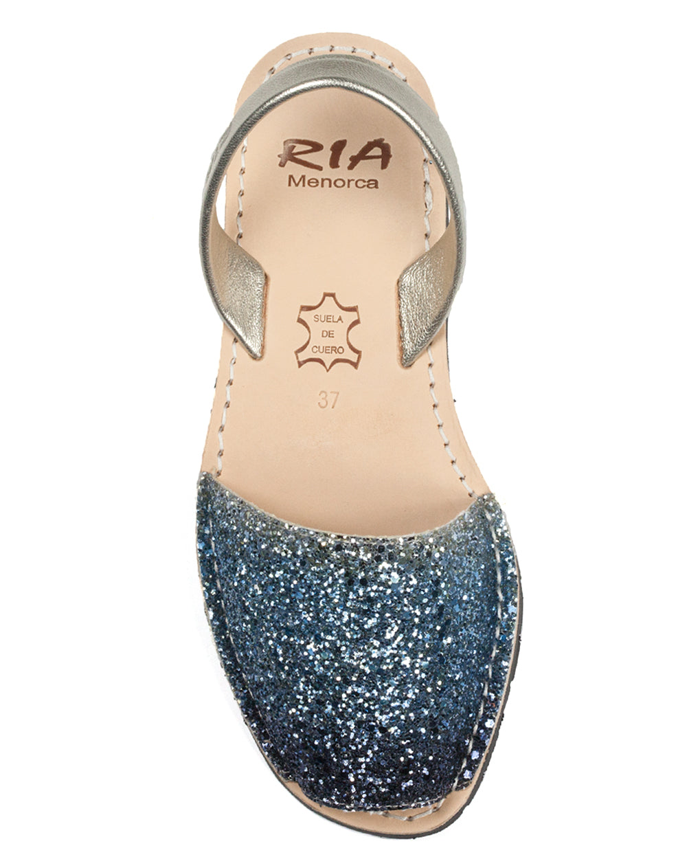 Ria Menorcan Sandals In Blue Illusion Glitter The
