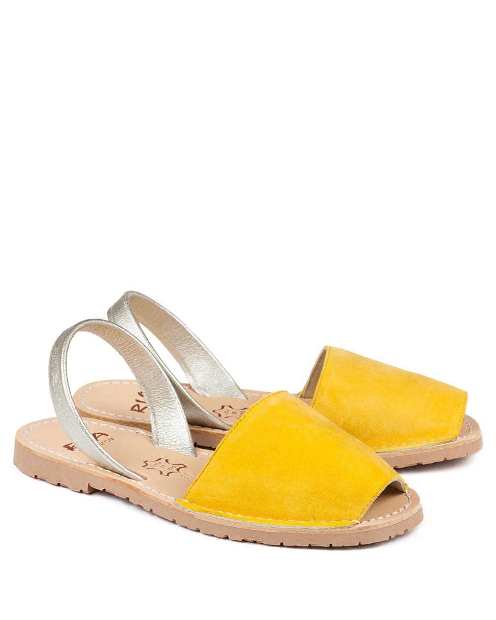 Menorcan Sandals Yellow Suede & Gold - The Espadrille Hut