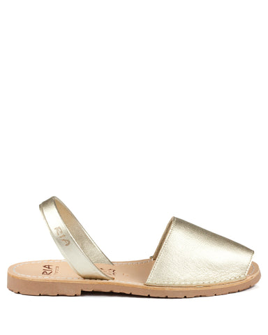 Menorcan Sandals Gold Leather - The Espadrille Hut