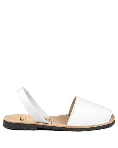Menorcan Sandals White Leather - The Espadrille Hut
