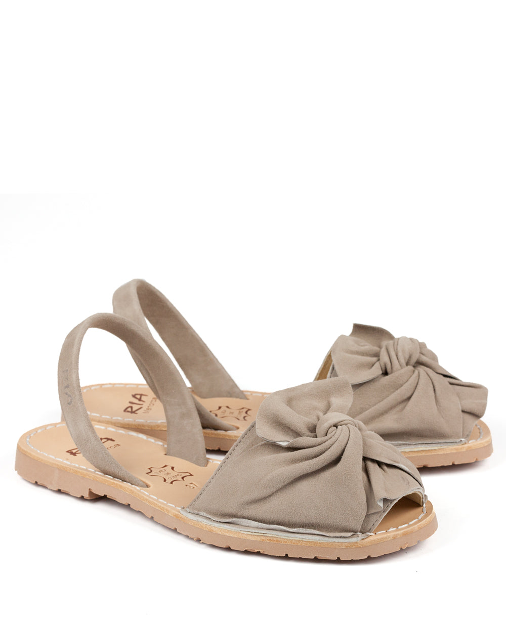 Menorcan Bow Sandals Taupe Suede - The Espadrille Hut