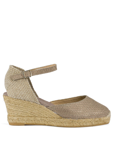 Como Taupe Printed Leather Espadrilles - The Espadrille Hut