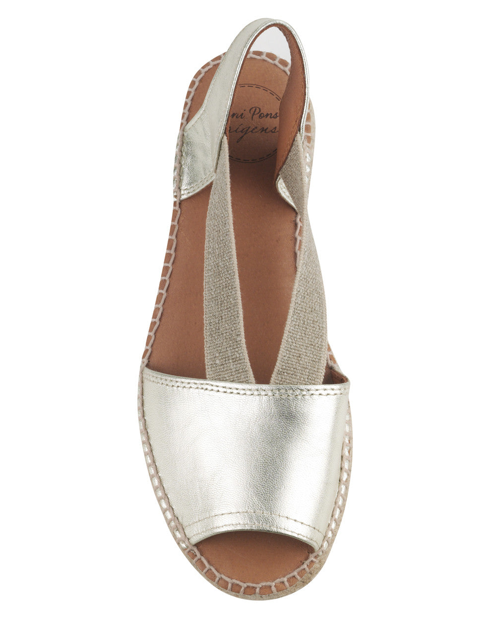 Etna Platinum Leather Flat Espadrille - The Espadrille Hut