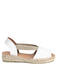 Etna White Leather Flat Espadrille - The Espadrille Hut