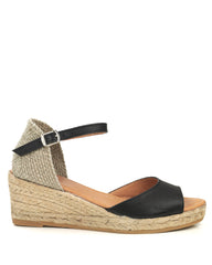 Llivia P Black Leather Wedge Espadrille - The Espadrille Hut