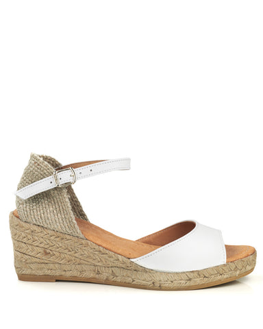 Llivia P White Leather Wedge Espadrille - The Espadrille Hut
