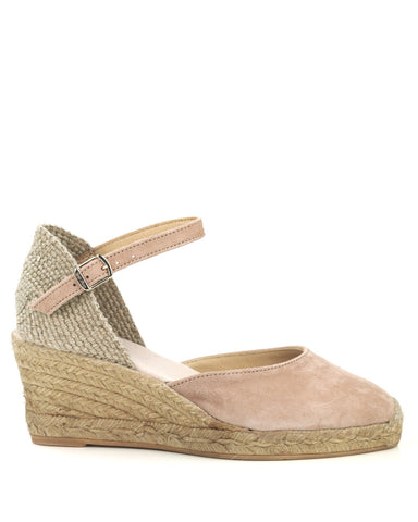 Lloret 5 Nude Suede Wedge Espadrille - The Espadrille Hut