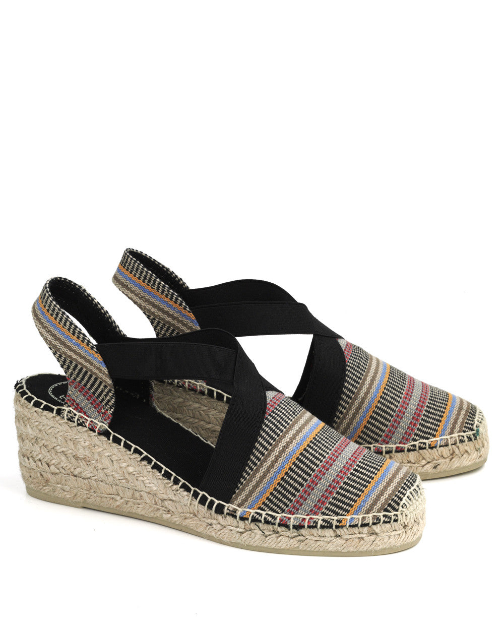 a64bf98fe56 Tarbes Grey Striped Linen Wedge Espadrille