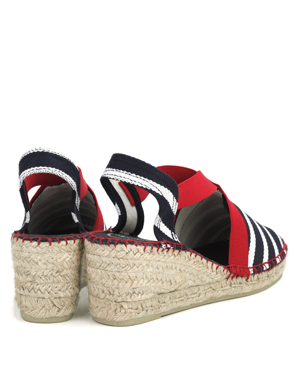 Tarbes Red and Blue Striped Linen Wedge Espadrille - The Espadrille Hut