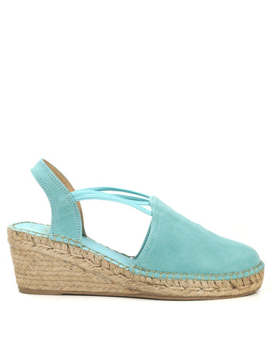 Tremp Turquoise Suede Wedge Espadrille - The Espadrille Hut