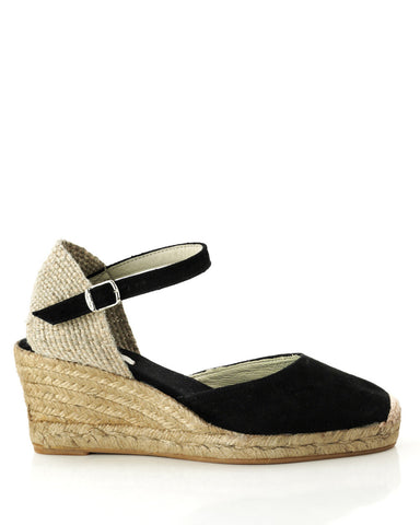 Lloret 5 Black Suede Wedge Espadrille - The Espadrille Hut