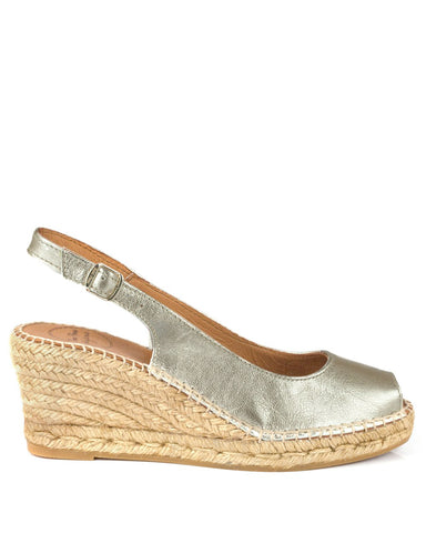 Croacia Platinum Leather Wedge Espadrille - The Espadrille Hut