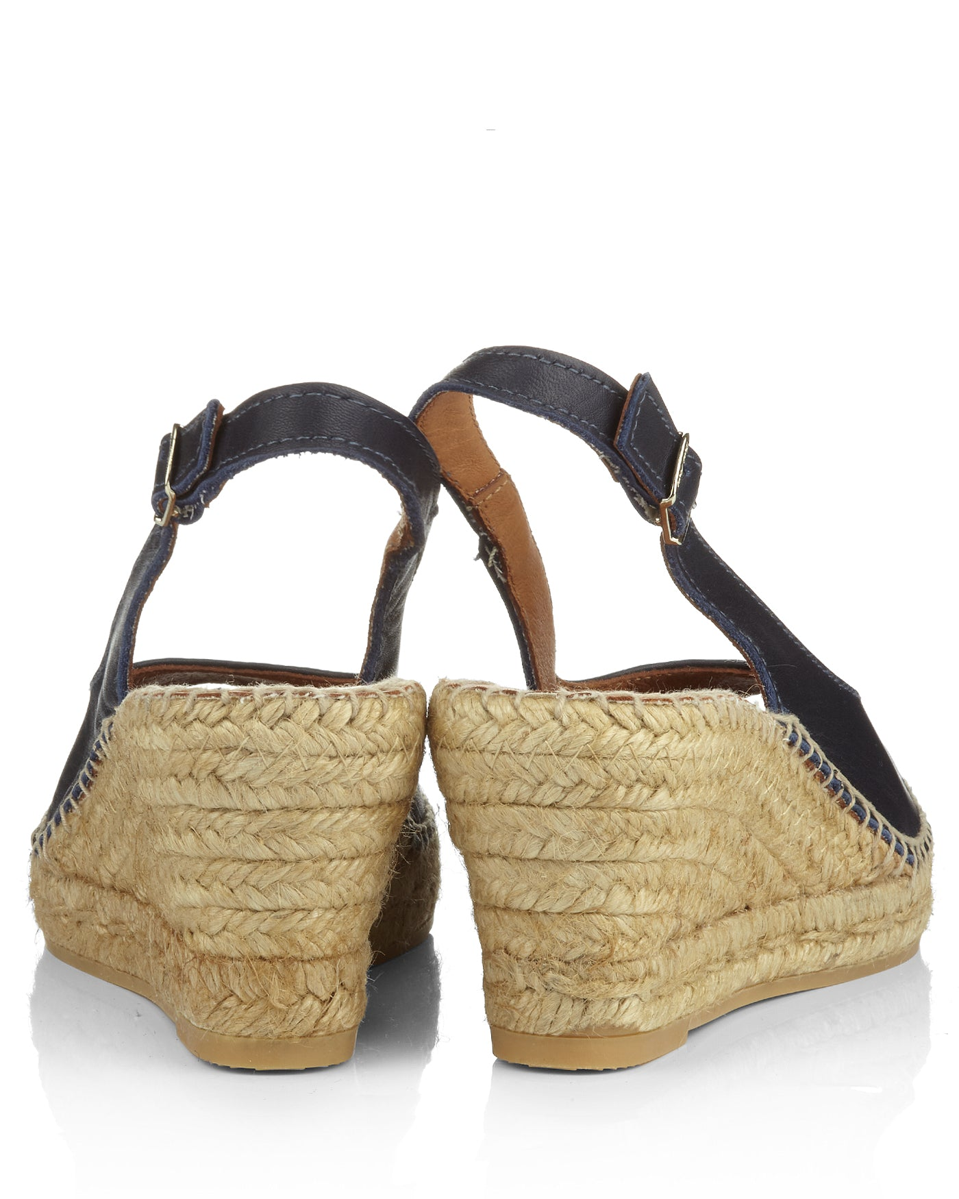Croacia Navy Blue Leather Peeptoe Espadrille Slingbacks - The Espadrille Hut