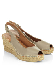 Croacia Taupe Leather Peeptoe Espadrille Slingbacks - The Espadrille Hut