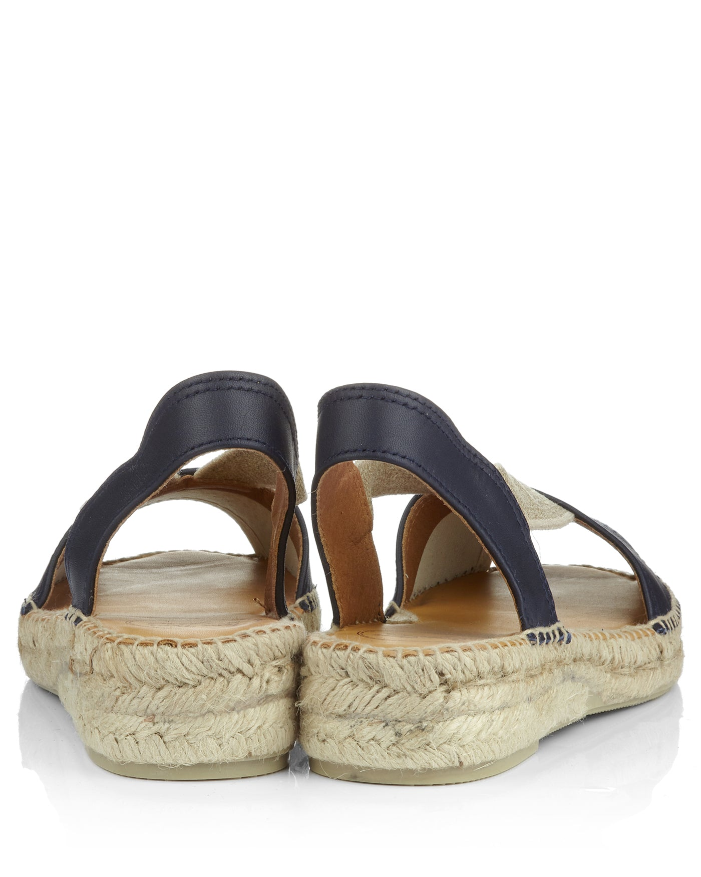 Etna Navy Blue Leather Flat Peeptoe Espadrilles - The Espadrille Hut