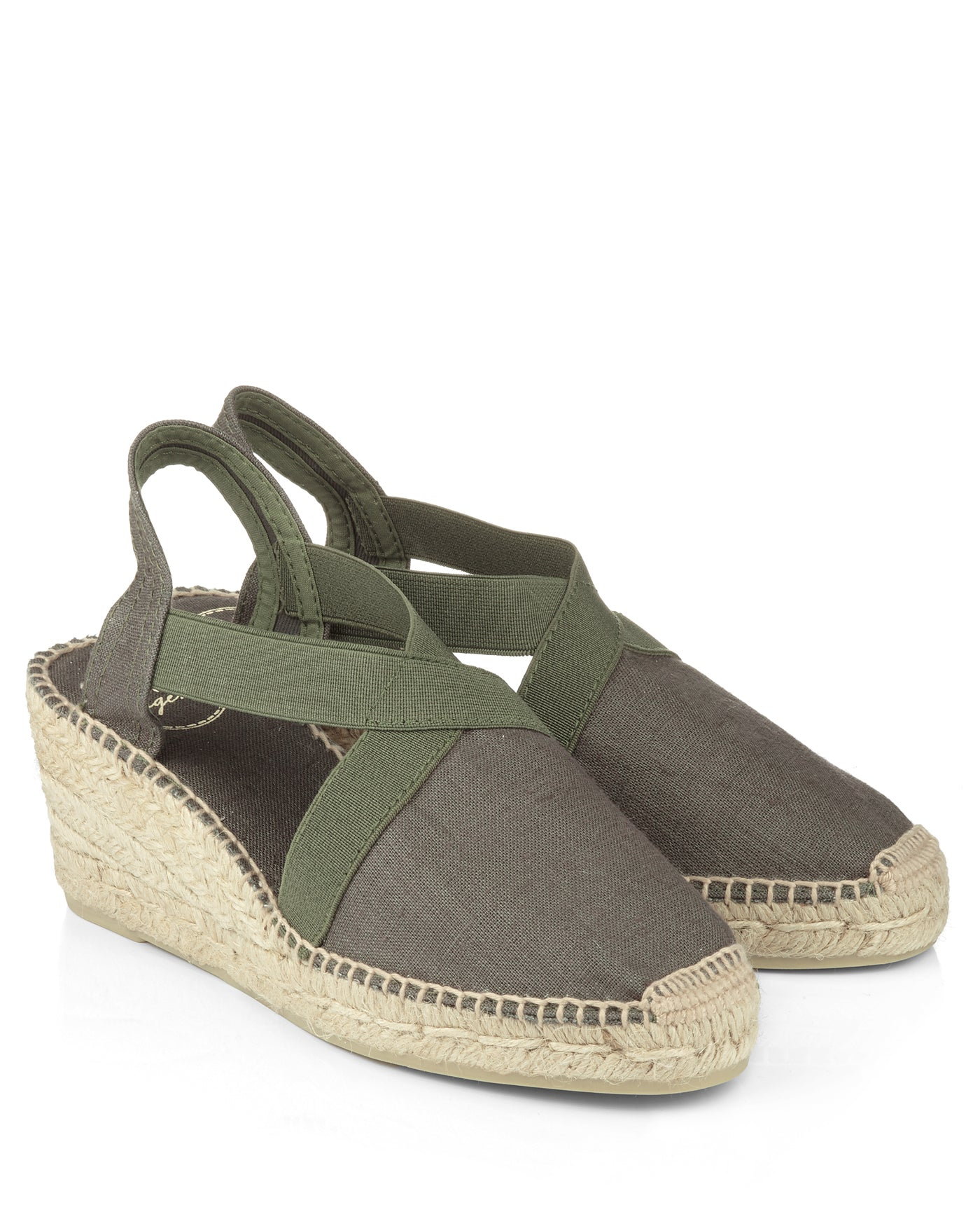 Ter Khaki Linen Wedge Espadrille - The Espadrille Hut