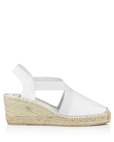 Ter White Linen Wedge Espadrille - The Espadrille Hut