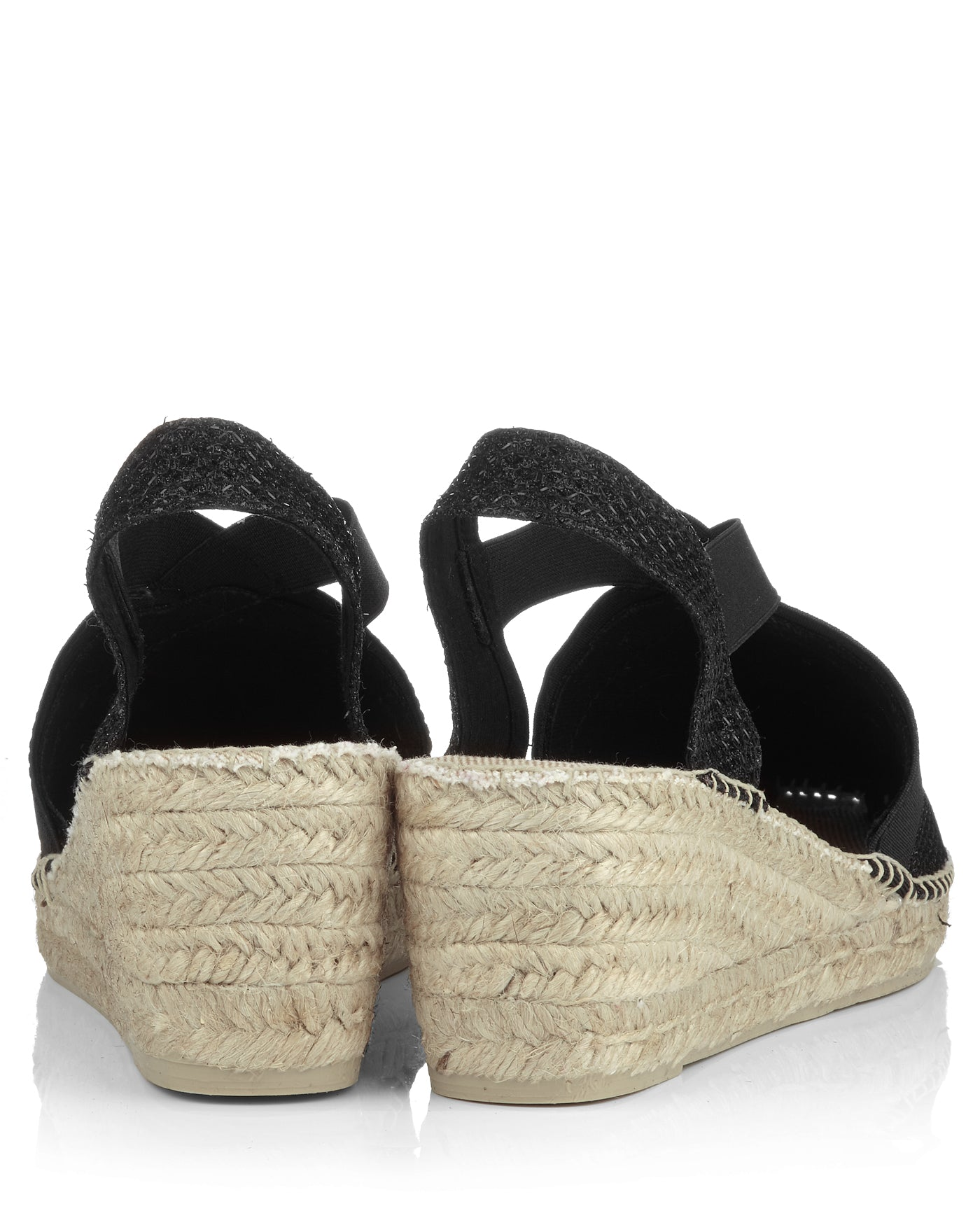 Triton Black Shimmer Fabric Wedges - The Espadrille Hut