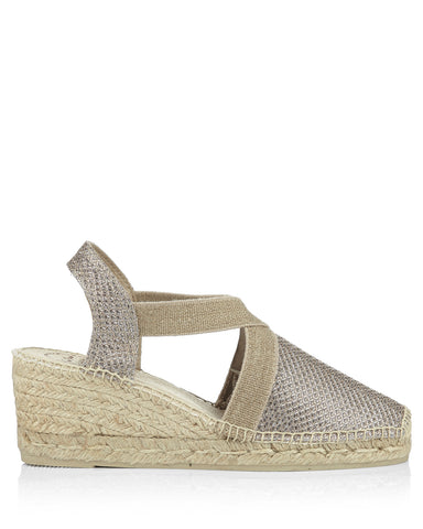 Triton Platinum Shimmer Fabric Wedges - The Espadrille Hut