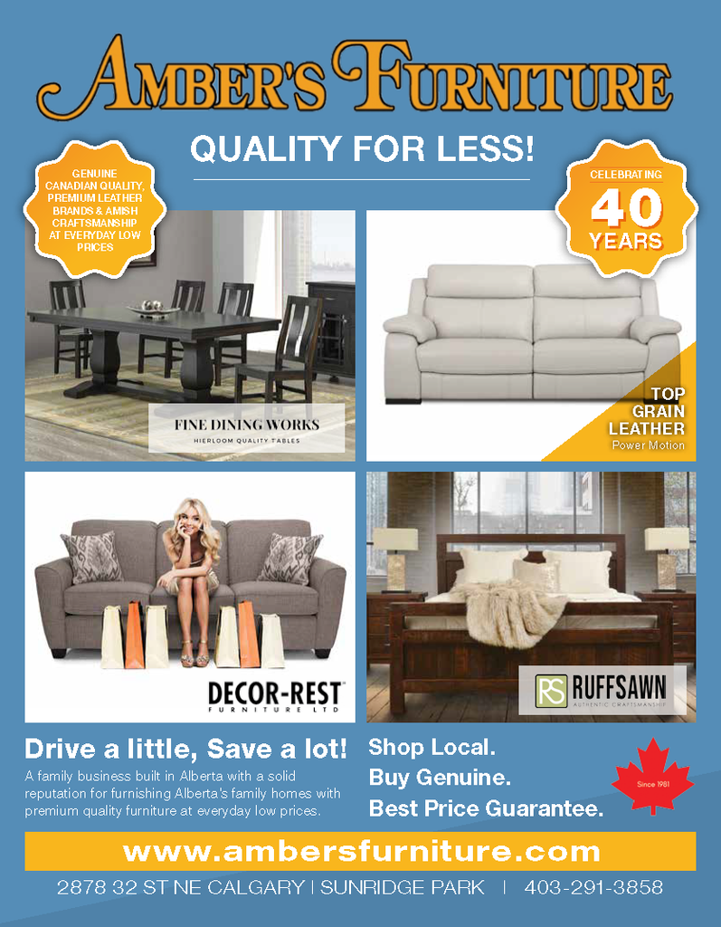 Amber's Furniture Flyer Canadian Made Quality Since 1981