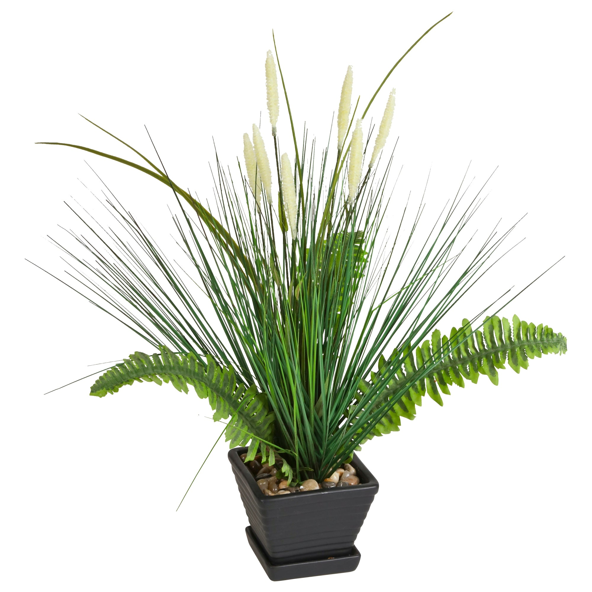 Breeze point p00013s 21 lifelike potted artificial fern and artificial fern and ornamental grass plant workwithnaturefo