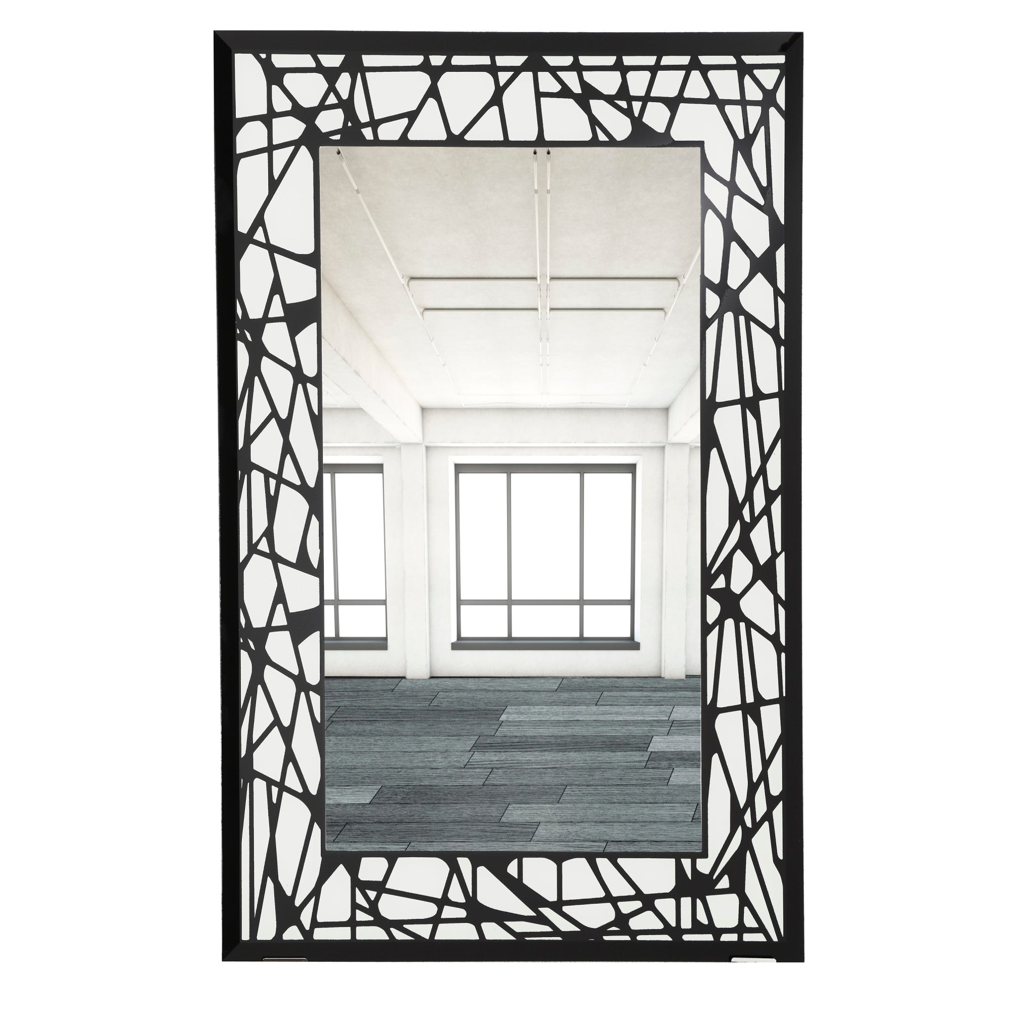 M00139 16 X 24 Rectangular Beveled Wall Mirror Frameless Decorative Mirror With Black And White Abstract Shapes Pattern Border Black White